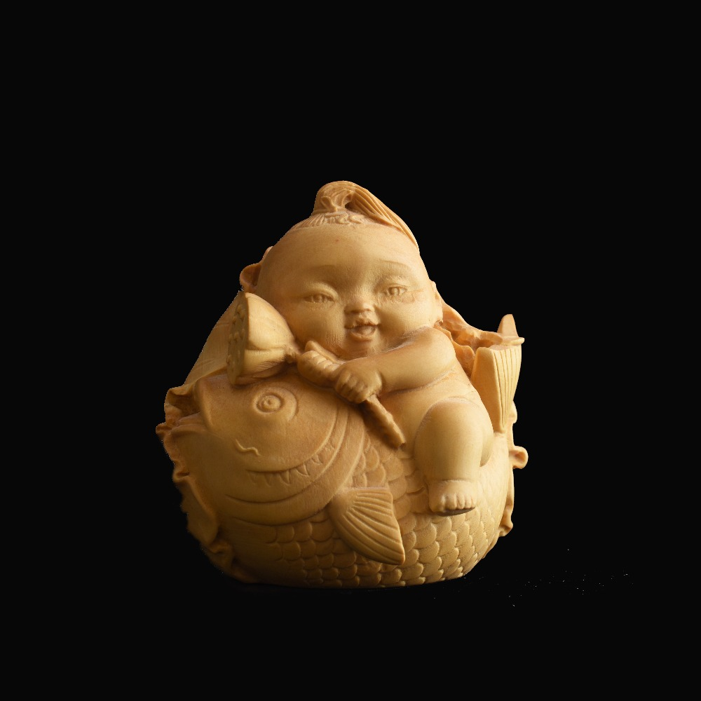 The Chinise folk arts and crafts Boxwood carvings car decoration  Handcrafted  Home Furnishing Articles  craft gift Fish baby chinese immortals hot new the folk arts and crafts boxwood carving home furnishing articles collection craft gift