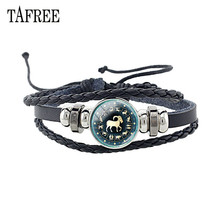 TAFREE 12 Constellation Black Braided Leather Bracelet Glass Dome Charm Punk Men Personality Zodiac Signs Jewelry D1173