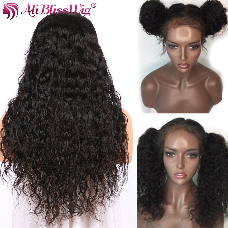 150 Density 4 Inch Glueless Lace Front Human Hair Wigs For Women Water Wave Brazilian Remy Hair Pre Plucked Full End Aliblisswig