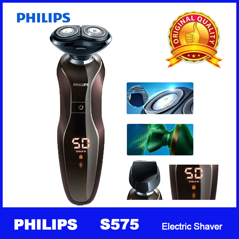 Original PHILIPS S575 Electric Shaver with smarkclick trimmer rechargeable AutoFocus rotatable design washable for Men's Razor