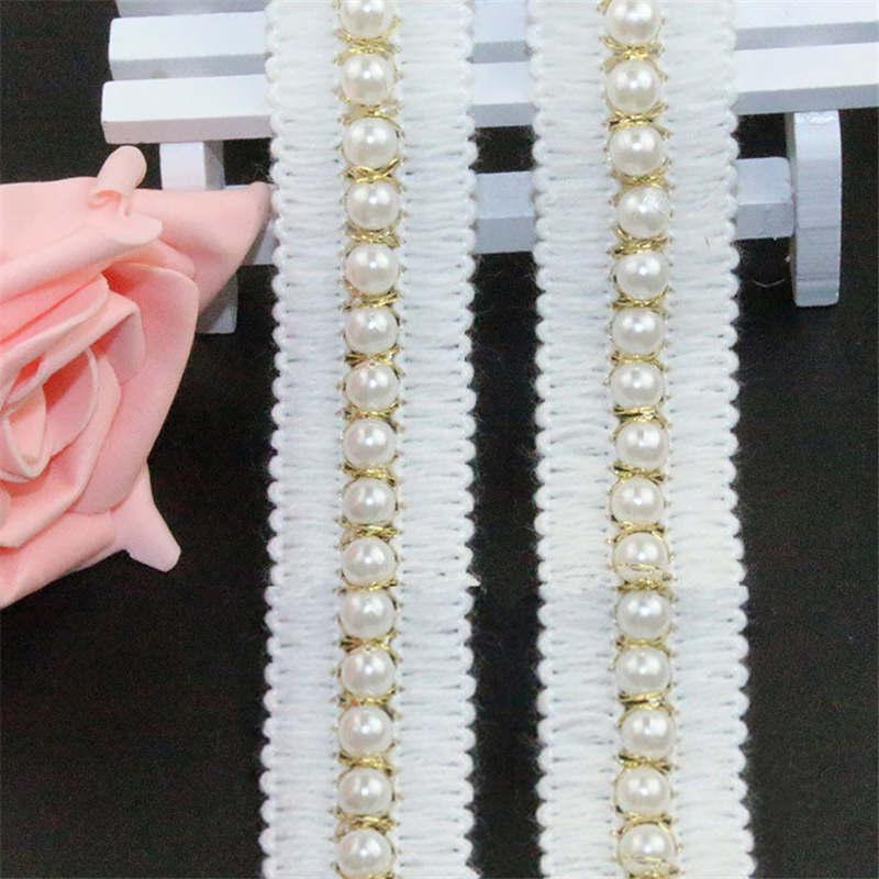 Doreenbeads имитация жемчуга Кружево отделка Белая лента бисером Кружево юбка Нижнее Бельё для девочек Носки для девочек Шапки свадебное платье аппликация около 0.9 м 1 шт.