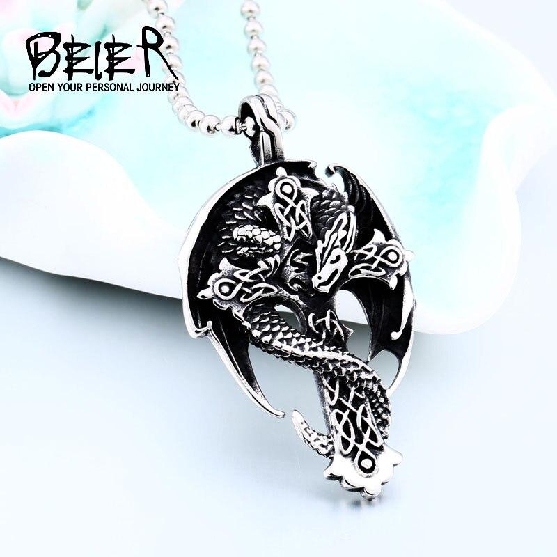BEIER Fashion celt dragon Animal pendant religious cross Amulet necklace for man Gift guardian choker Viking Jewelry BP8-339