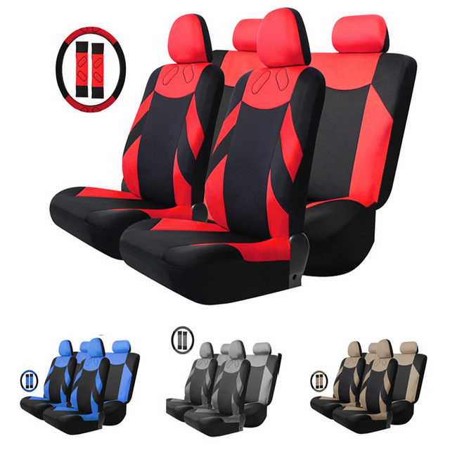Universal Mesh Fabric Car Seat Cover Set Four Seasons Auto Cushion Steering Wheel Wrap 13pcs Simple Installation Easy to Clean