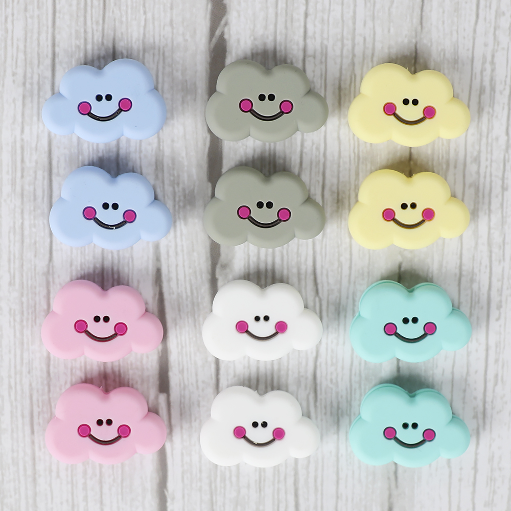 TYRY.HU 6pc Mini Teether Beads Pastel Color Teething Toys Baby Chew Necklace Accessories Food Grade Silicone
