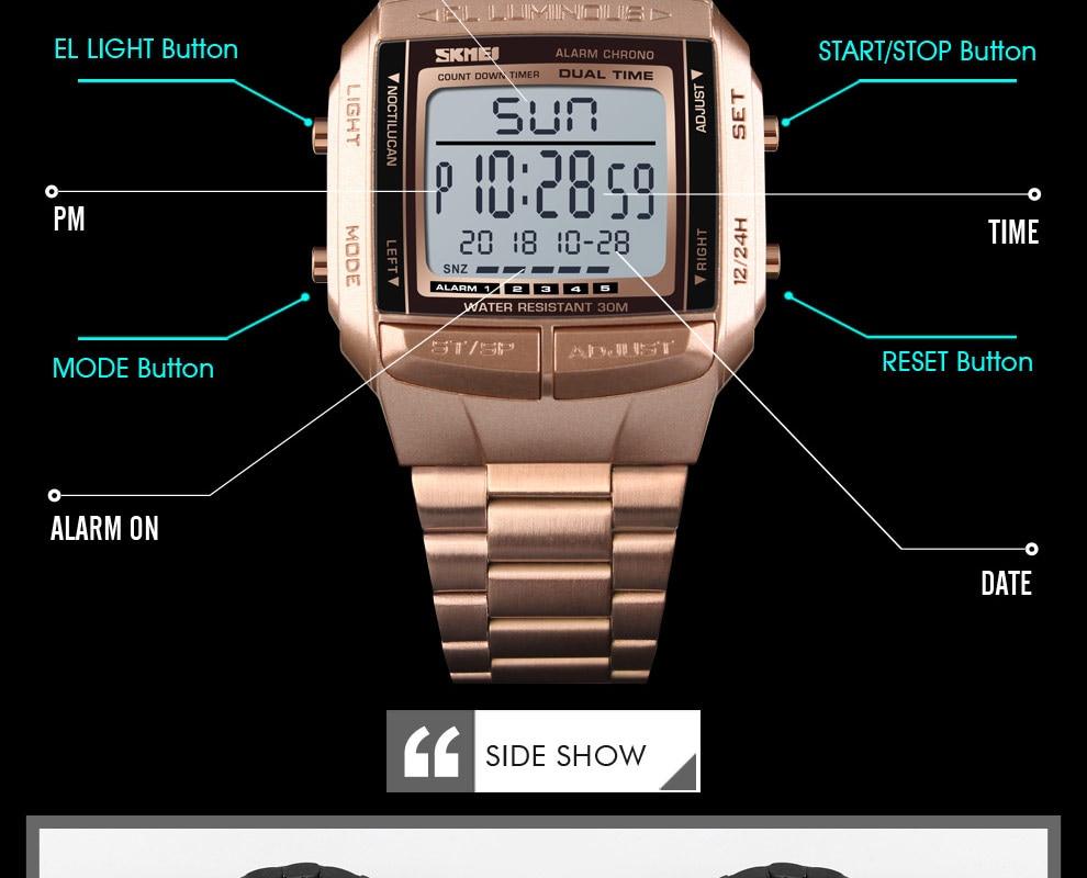 SKMEI Sports Watch Men Digital Watch Alarm Clock Countdown Watch Large Dial Glass Mirror Clock Fashion Outdoor Relogio Masculino 16