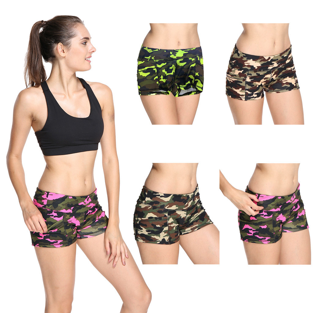 Hot Women's Short Pants Camouflage Print Athletic Summer Sports Pant High Waist Short Jeans Short Jeans Pantaloncini Donna