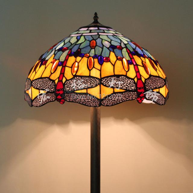 Antique Tiffany Floor Lamp Dragonfly Vintage Europe Style Living Room Standing  Lamps Stained Glass Lampshade Home