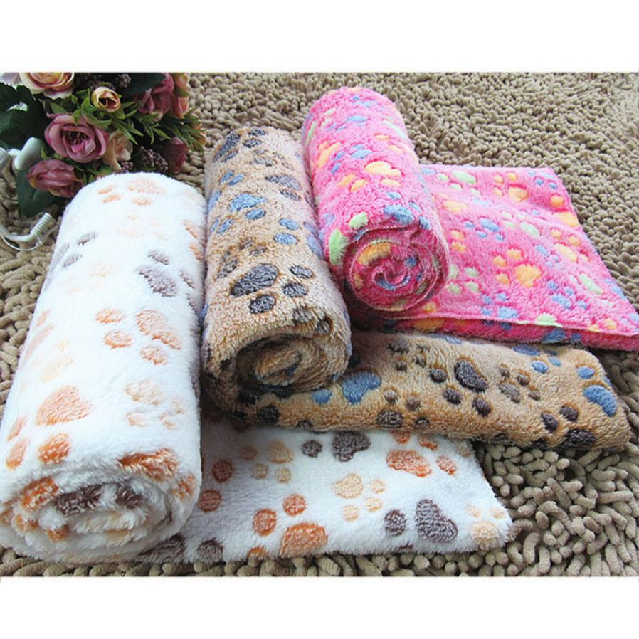 MOLAVE Pet Blanket Small Large Paw Printed Cat Dog Puppy Fleece Soft Warm Mat hot pink/coffee Drop Shipping Happy Sale ap724