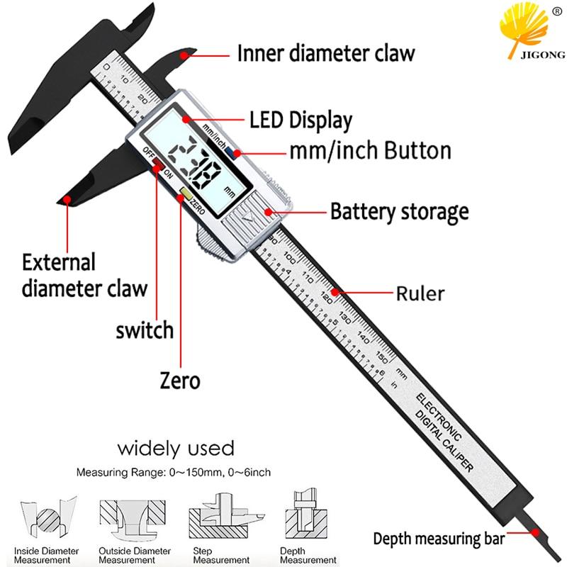 100mm 150mm Electronic Digital Caliper 6 Inch Carbon Fiber Vernier Caliper Gauge Micrometer Measuring Tool Digital Ruler