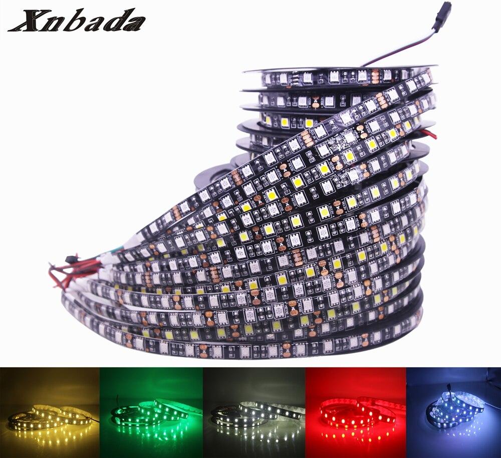 Xnbada 5050 Flexible Led Strip DC12V,W/WW/R/G/B/Y/RGB 60Led/m Black PCB Led Strip Light IP30/IP65