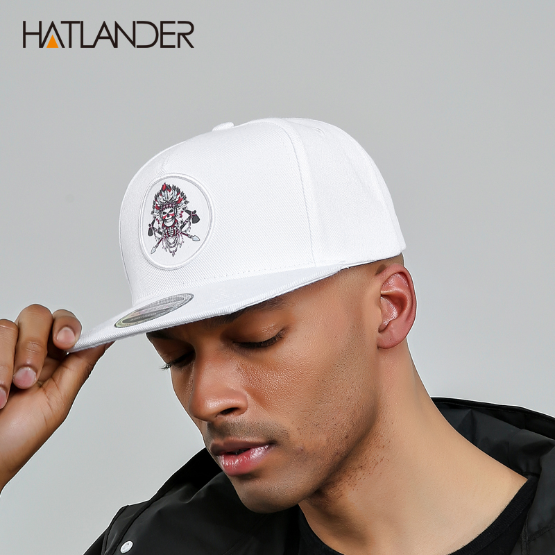 [HATLANDER]5 panel white   baseball     caps   men women sports hats bone gorras Chief original snapback hip hop   cap   hat for boys girls