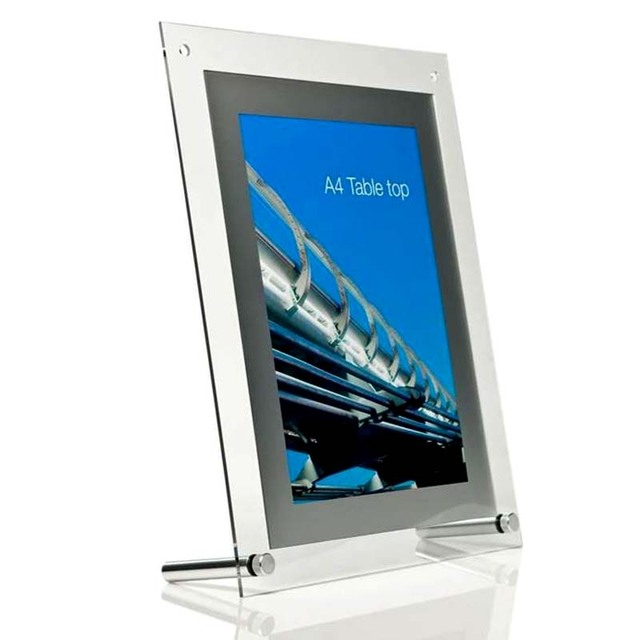 (Pack/5units) A4 Table Top Perspex Acrylic Advertising Display Poster Frames,Plastic Signage Photograph Prints