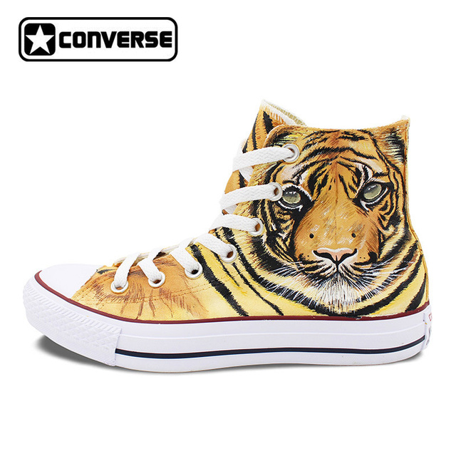 womens Skateboarding Shoes Canvas painting tiger art Sport Sneaker