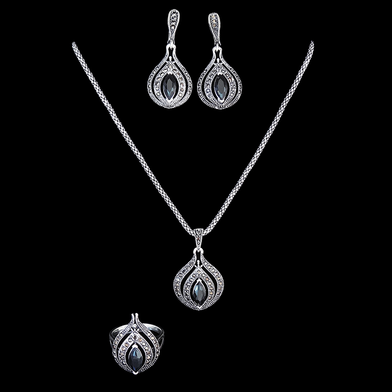 4 Colors Antique Silver Plated Fashion Jewelry Sets Vintage Black Crystal Pendant Necklace Earring Ring Jewellery