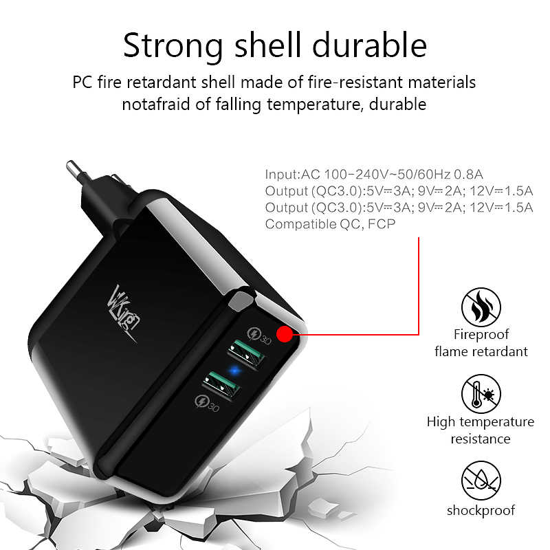 Vvking 36 W Quick Charge 3.0 2 Port USB Charger untuk iPhone X 8 Cepat QC 3.0 Charger untuk Samsung galaxy S9 Xiaomi Ponsel Charger