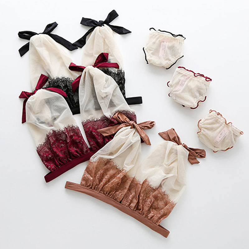 Sexy Ultra-thin Lace Embroidery   Bra     Set   Summer Transparent Mesh Women Underwear Lovely Bow Adjusted-straps French Brassiere