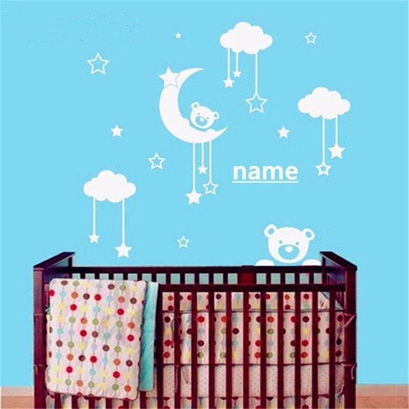 T06094 Cute Teddy Bear Moon Stars Personalized Custom Name Vinyl Art Wall Sticker Decal for Kids Room Nursery Bedroom Decor