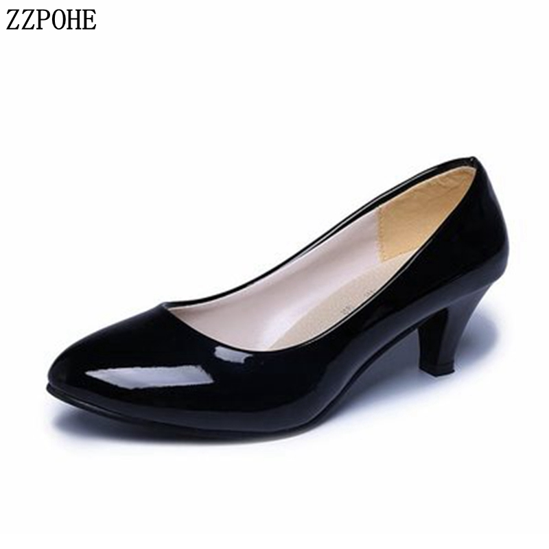 Women Pumps Spring Autumn Woman High Heels Shoes Lady Leather Round Toe Office Shoes Women's Wedding Party Pumps xiaying smile woman pumps shoes women spring autumn wedges heels british style classics round toe lace up thick sole women shoes