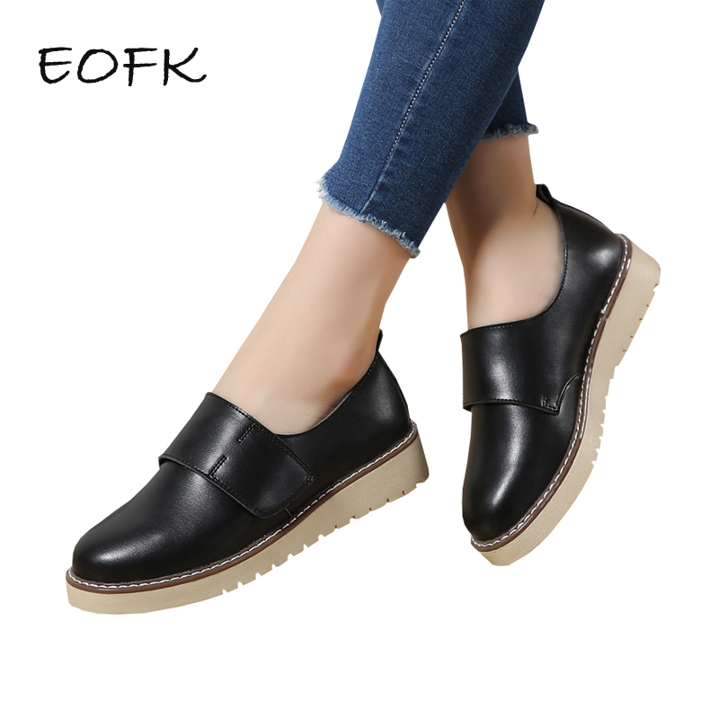 EOFK Women Leather Shoes Woman Casual Shoes For Women Flat Shoes Spring Autumn White Ladies Hoop
