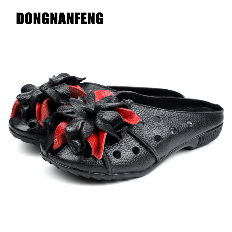 DONGNANFENG Women Shoes Sandals Slipper Female Mother Flower Floral Slip On Cow Genuine Leather Beach Vintage Size 35-40 LLTS-1
