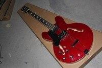 SICAK Toptan Top Kalite Yeni Stil G LP özel Yarı hollow sol handed ES 335 ES335 kırmızı caz elektrik gitar ile hardcase