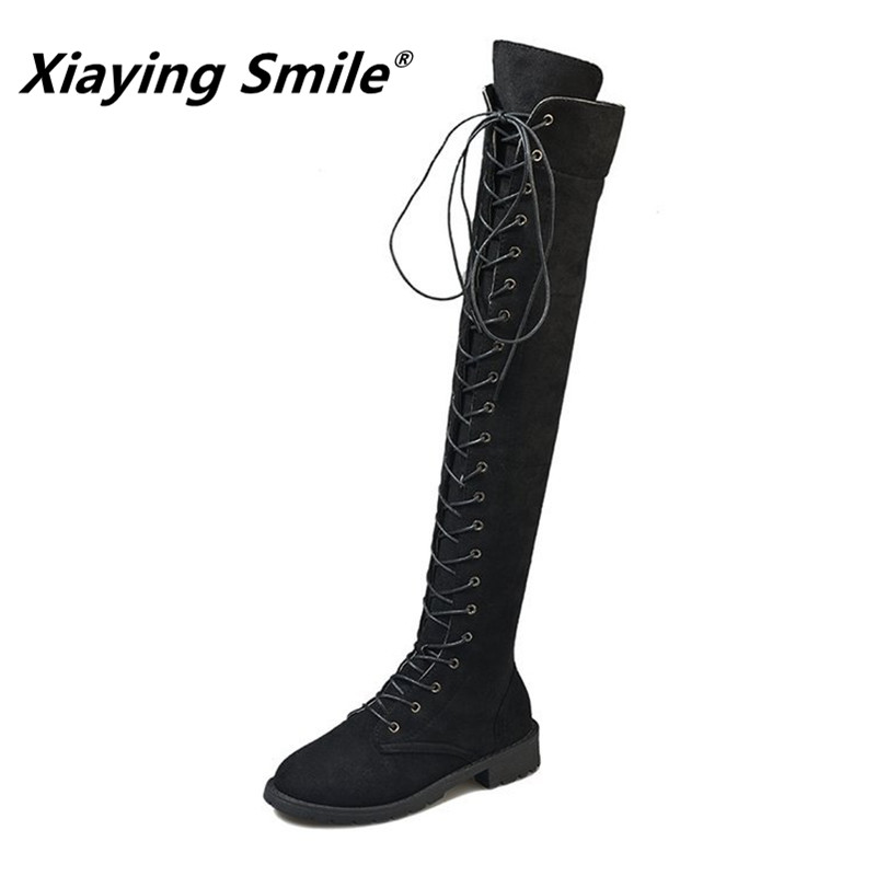 Xiaying Smile Women Over the knee Boots Winter Fahion Cross tied Solid Boots Ladies Popular Eurpean