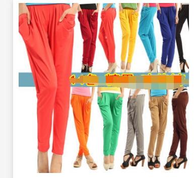 Mid-Waist Harem-Pants Summer Fashion Women Solid Loose 1pcs/Lot Candy-Color