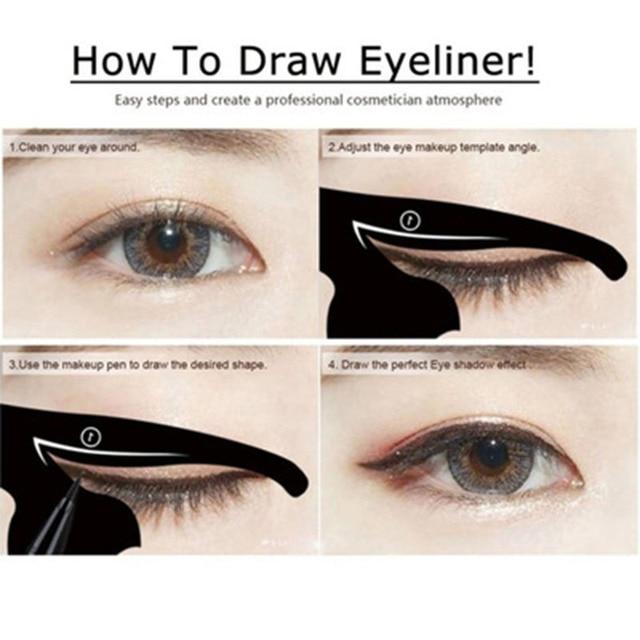10pcs/lot Beauty Eyebrow mold Stencils Women Cat Line Pro Eye Makeup Tool Eyeliner Stencils Template Shaper Model for Women Girl 4