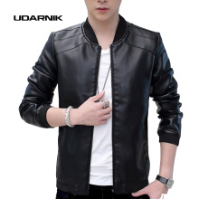 Mens Retro Vintage Casual Classic PU Faux Leather Slim Thin Jacket Fit Biker Motorcycle Coat Outwear Black Tops 204-762