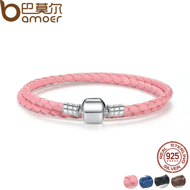 BAMOER Genuine Long Double Pink Black Braided Leather Chain Women Bracelets with 925 Sterling Silver Snake