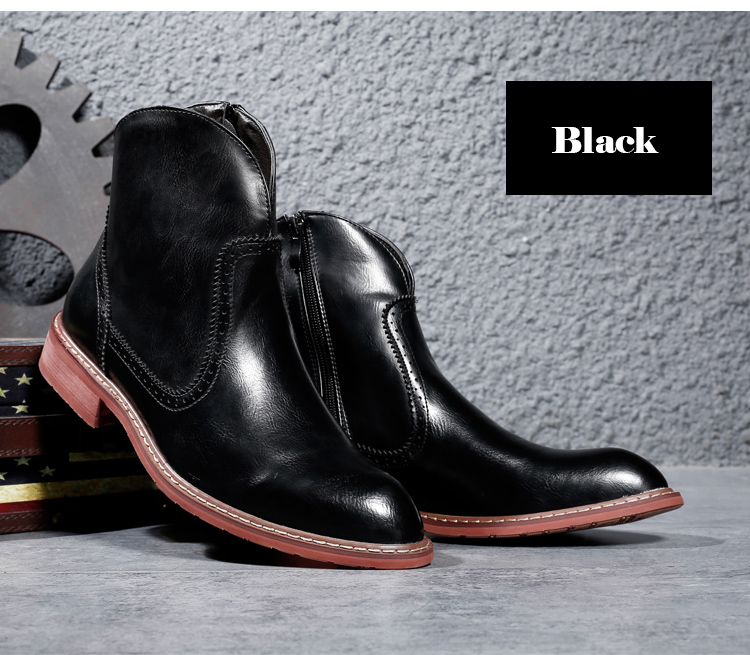 Friendly Bomkinta High Top Black Men Boots Flock Zipper Sewing Boots Men Leather Motorcycle Male Safety Shoes All Match Male Footwear Men's Shoes