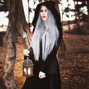 Image 2 - Maxivestido con capucha gótico de noche de brujas Vintage Sexy manga larga de llamarada de encaje Patchwork botón vestido largo cuello en V Empire Vestidos