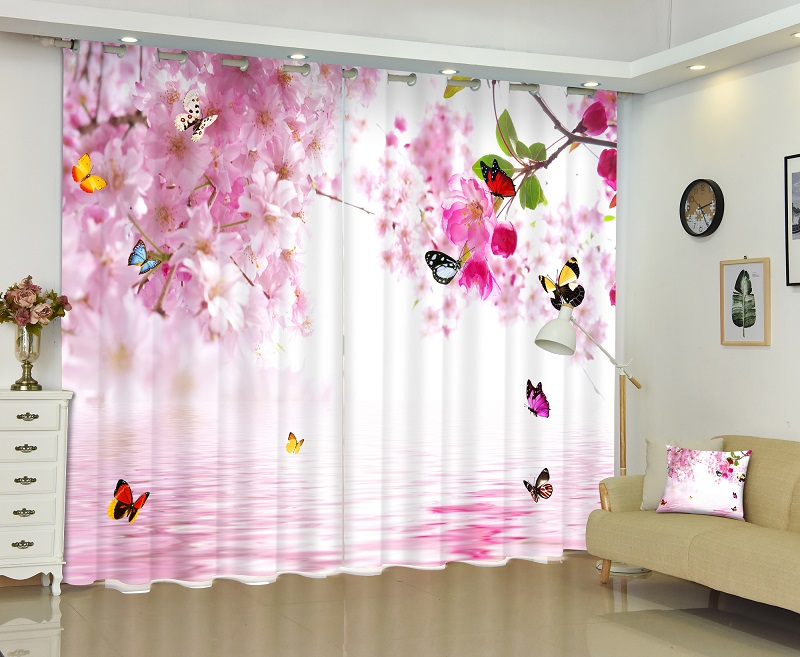 Pink flowers and butterflies 3D Painting Blackout Curtains Office Bedding Room Living Room Sunshade Window Curtain Bedding setPink flowers and butterflies 3D Painting Blackout Curtains Office Bedding Room Living Room Sunshade Window Curtain Bedding set