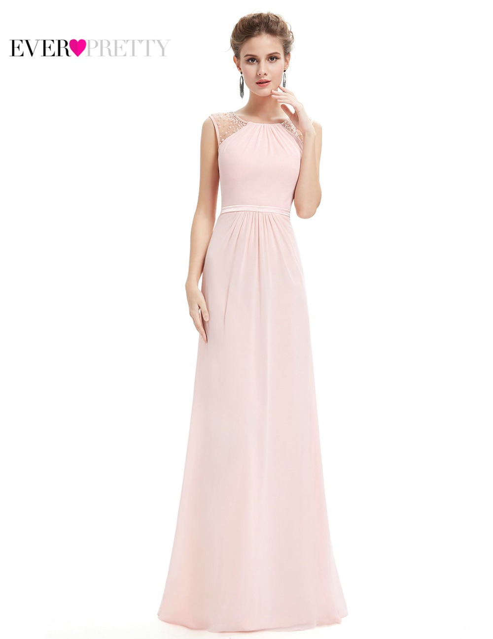 Compare prices on pink long bridesmaid dress online shoppingbuy clearance sale bridesmaid dresses he08742 pink womens elegant sleeveless long dress chiffon plus size ombrellifo Image collections