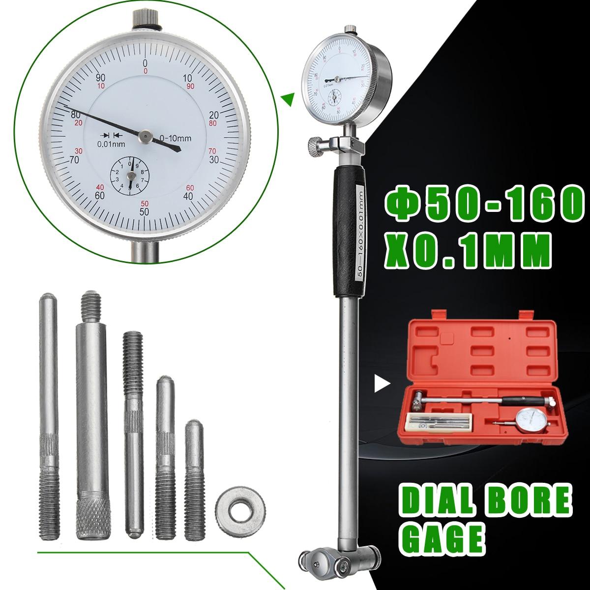 50-160mm/0.01mm Metrica Dial Bore Gauge Cilindro Interno Piccola All'interno Sonda di Misura Gage Prova Quadrante indicatore di Strumenti di Misura