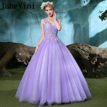 8f02ea853 JaneVini Graceful luz larga púrpura dama de honor Vestidos V cuello de  encaje apliques Beads Tulle Prom Vestidos 2018 Vestidos d.