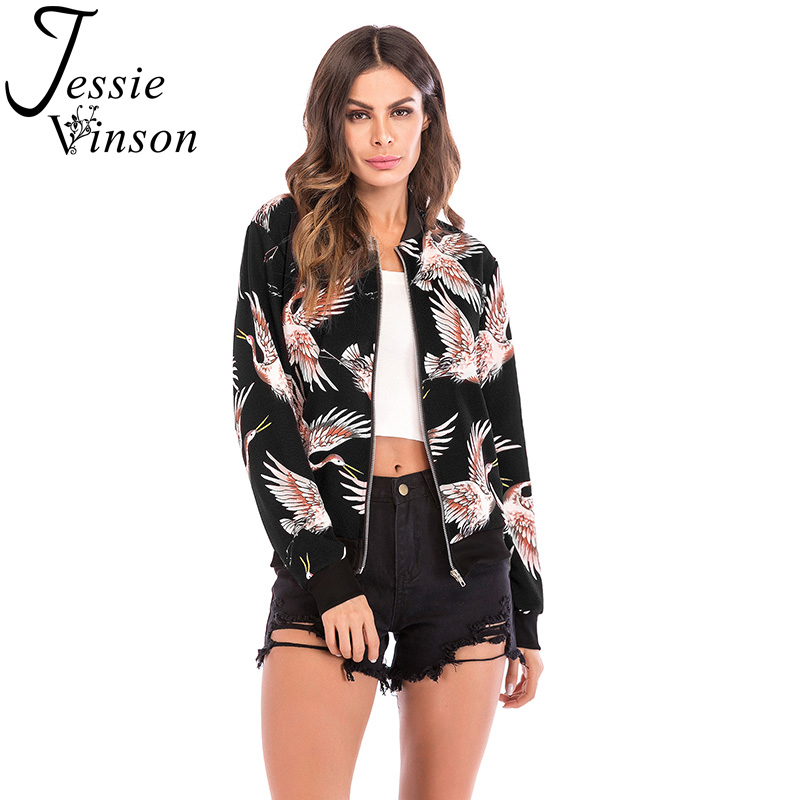 Jessie Vinson Fashion Crane Printed Zipper   Basic     Jacket   Women Casual Slim Fit Bomber   Jacket   Coat Female Outwear Spring Autumn
