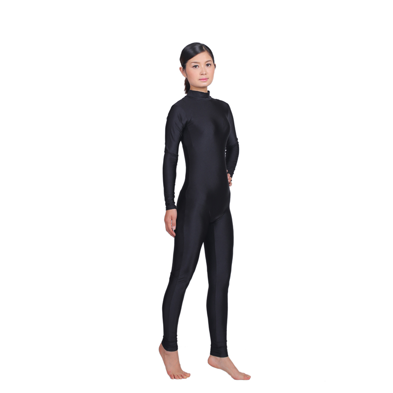 a21e6972f794 Women Long Sleeve High Neck Unitard Zipper Back Bodysuit Lycra Spandex  Jumpsuit GymnasticYoga Ballet Dance Unitard-in Zentai from Novelty    Special Use on ...