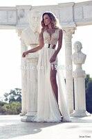 New Design 2014 Vestidos De Noiva Deep V Neck High Slit Beaded Ivory Chiffon Sheath Bridal