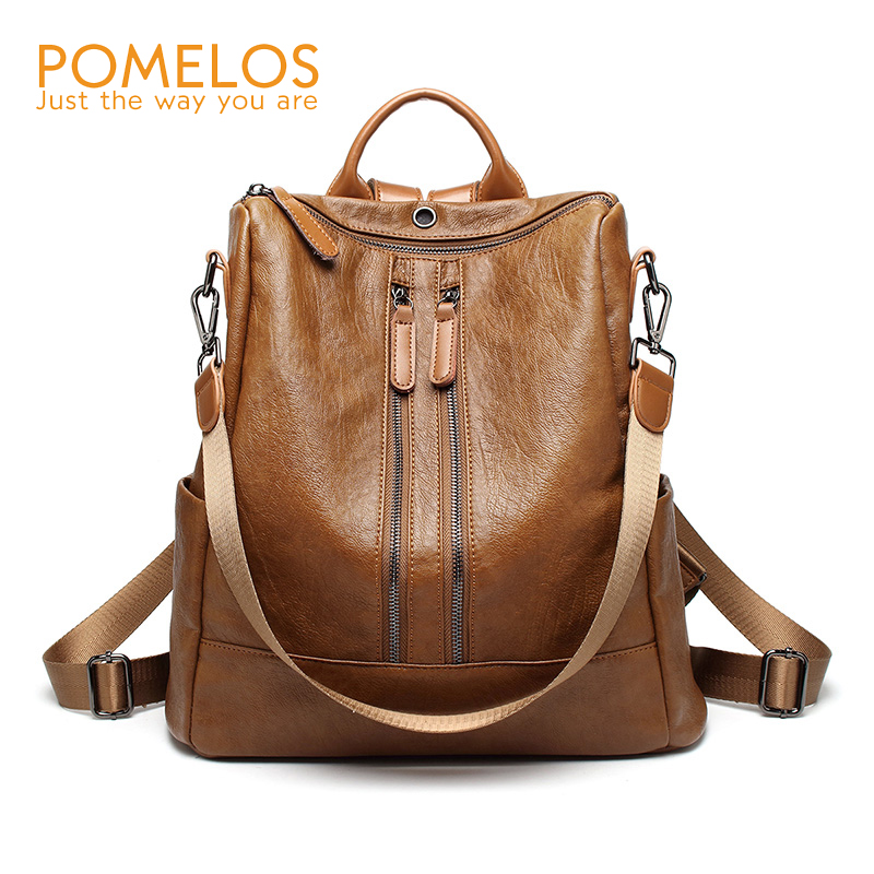 POMELOS Brand Women Soft Leather Fashion Backpack Ladies Shoulder Bags Back Pack Rucksack Female Anti Theft Travel Backpacks free shipping backpack women white and black travel pu leather backpacks ladies fashion female rucksack back bags