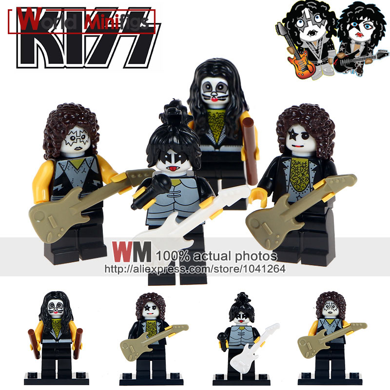 20 ロットのハードロックバンドキスポール · スタンレートミーセイヤーエリック · 歌手ジーン · シモンズビルディングブロックギフトおもちゃ WM6022 wm6008  グループ上の おもちゃ & ホビー からの ブロック の中 1