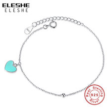 ELESHE 2018 Valentine's Day Blue Enamel Heart & Round Ball Charm Bracelet 925 Sterling Silver Chain Bracelet for Women Ladies(China)