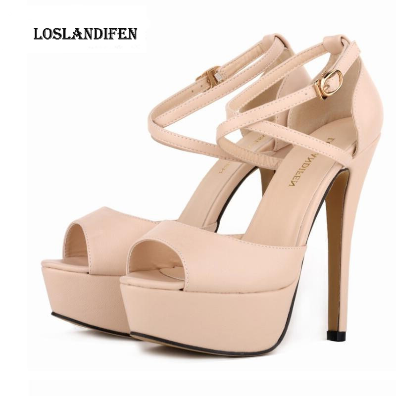 Loslandifen Fashion Women Cross Strap Party High Heel Shoes Big Size 35-42 Ladies Candy Color Ultra High Heel Pumps QKP0314B