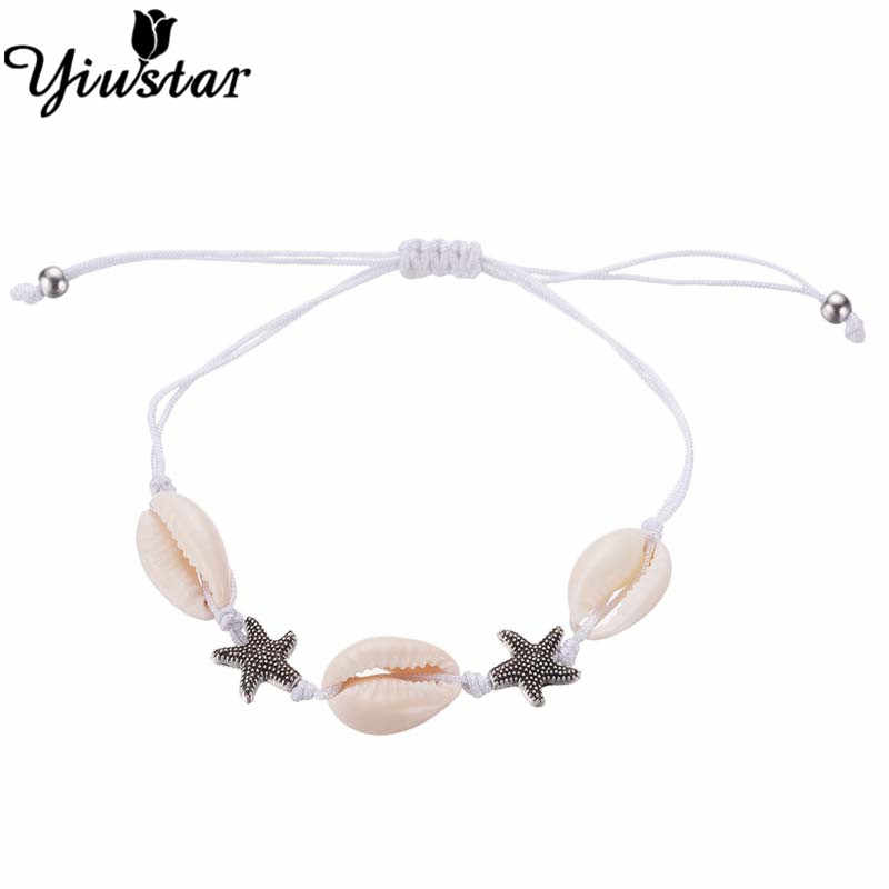Yiustar Boho Shell Women Men Bracelet Jewellery Double Starfish Femme Accessories Handmade Infinity Seashell Charm Bracelets
