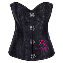 Sexy Black Tapestry Steampunk Corset Steel Ring Buckle Gothic Corselet Women Burlesque Shaper Clothing