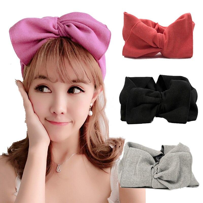 Модные корейские повязки голову-большой бант для женщин и девочек, вязаные аксессуары для волос, эластичная повязка для волос Gumki Do Wlosow Opaska