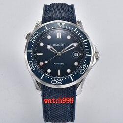 41mm bliger niebieska tarcza ceramiczna ramka szkiełka zegarka szafirowe szkło data automatyczny męski zegarek na co dzień wodoodporny zegarek mechaniczny