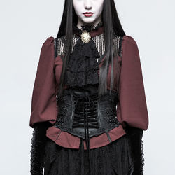 Gothic Lolita Girdle Women body harness brocade draw string women leather corset