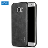 For Galaxy S7 Edge Case X LEVEL Vintage Series Leather Coated Hard Bag Cover For Samsung