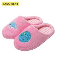 Winter Warm Kids Slippers Children Fur Plush Home Cartoon Elephant Toddler Girls Boys Warm Indoor Bedroom Shoes Baby Flip Flops